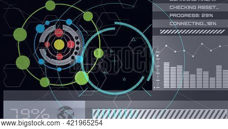 Composition of scopes scanning and digital data processing on black background. global business, technology and digital interface concept digitally generated image.