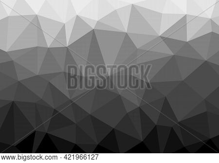 Geometric Low Polygonal Pattern, Gray Black Gradient. Abstract Background Pattern. Texture Design Fo