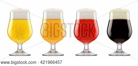 Set Of Glasses Of Fresh Beer With Bubble Froth Isolated On White Background.