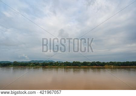 Beautiful Landscape Of Mekhong River Between Thailand And Laos From Chiang Khan District.the Mekong,