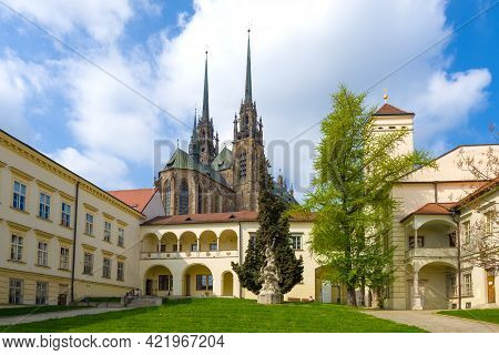 Brno, Czech Republic - April 24, 2018: In The Bishop Courtyard On A Sunny April Afternoon