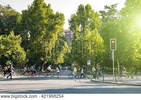 Santiago, Region Metropolitana, Chile - December 11, 2018: People Riding Bicycle In The Forestal Par