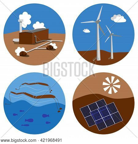 Set Of Alternative Energy Sources Icons. Sun, Wind, Water, Earth Eco Friendly Electricity. Solar, Hy