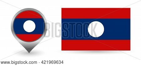 Vector Flag Laos. Location Point With Flag Laos Inside.