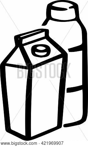 Icon Depicting Milk, Yogurt. Line Dairy And Dairy Products. Vector Illustration