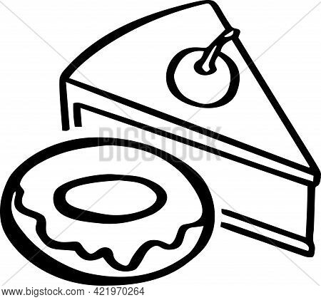 Icon With The Image Of Cheesecake, Cake, Donut Desserts, Sweets. Line. Vector Illustration