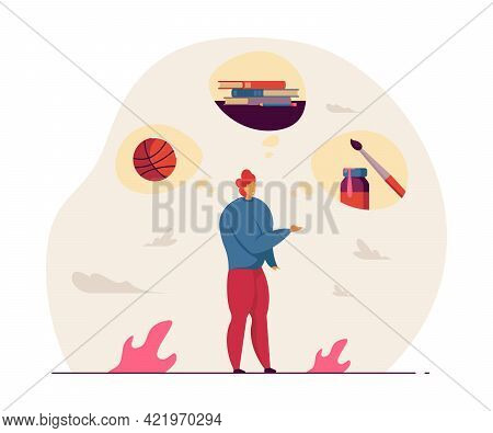 Young Man Thinking About Hobbies. Boy Choosing Between Basketball, Reading Books And Drawing Flat Ve