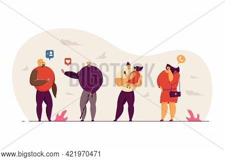 Generations Communicating Through Internet. Grandfather Liking Post, Girl Adding Friend, Woman Talki