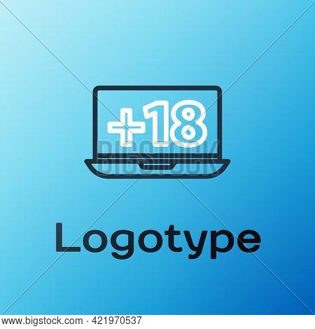 Line Laptop With 18 Plus Content Icon Isolated On Blue Background. Age Restriction Symbol. Adult Cha