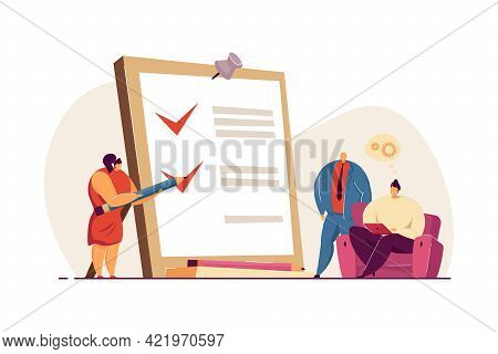 Tiny Woman With Pencil And Checklist On Clipboard. Completion Of Business Tasks Flat Vector Illustra