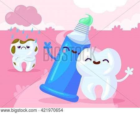 Healthy And Ill Teeth With Paste. Cartoon Vector Illustration. Happy White Tooth Hugging Smiling Pas