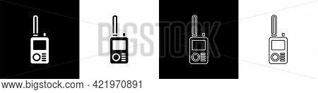 Set Walkie Talkie Icon Isolated On Black And White Background. Portable Radio Transmitter Icon. Radi