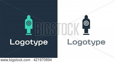 Logotype Human Target Sport For Shooting Icon Isolated On White Background. Clean Target With Number