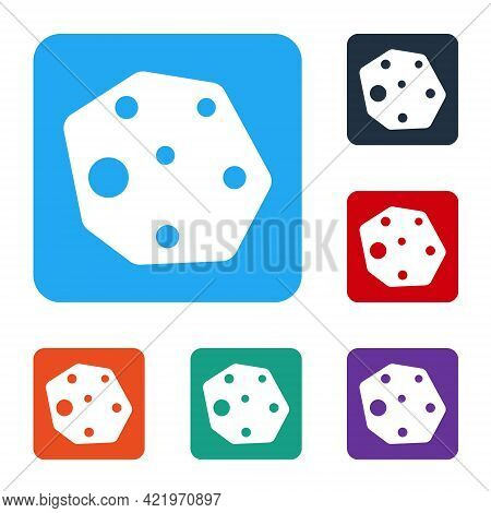 White Asteroid Icon Isolated On White Background. Set Icons In Color Square Buttons. Vector