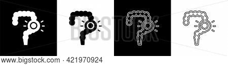 Set Gut Constipation Icon Isolated On Black And White Background. Bowel Problems. Vector