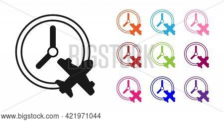 Black Clock With Airplane Icon Isolated On White Background. Designation Of Time Before Departure, C