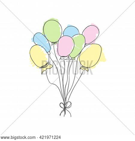 Balloons. Drawing Hand Draw. Children's Multi-colored Balloons. Cute Vector Illustration