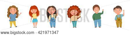 Boys And Girls Wave. Vector Illustration For Children Is Day In Cartoon Style.