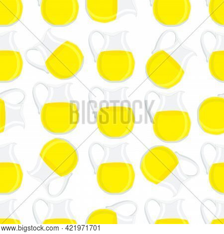 Illustration On Theme Big Colored Lemonade In Glass Jug For Natural Drink. Lemonade Pattern Consisti