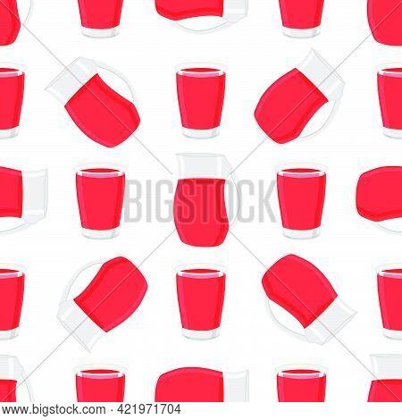 Illustration On Theme Colored Lemonade In Glass Jug, Cup For Natural Drink. Lemonade Pattern Consist