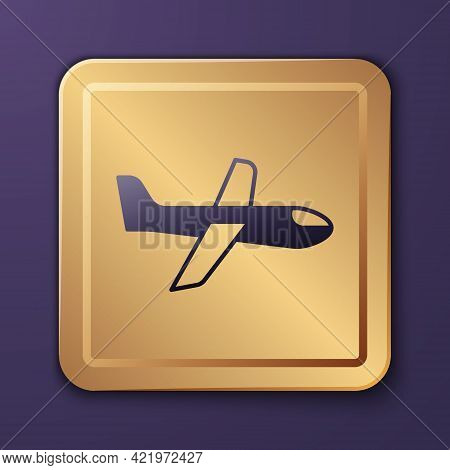 Purple Plane Icon Isolated On Purple Background. Flying Airplane Icon. Airliner Sign. Gold Square Bu