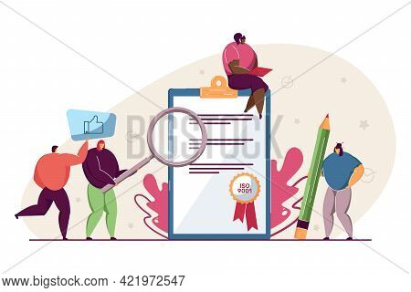 Tiny People With Quality Control Certificate. Cartoon Person Checking Document Flat Vector Illustrat