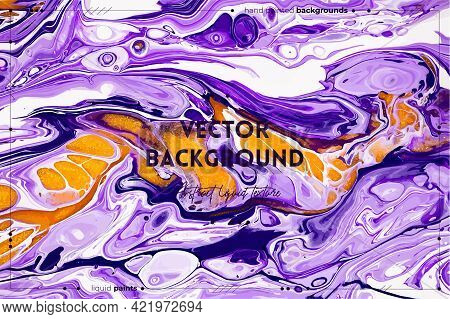 Fluid Art Texture. Abstract Backdrop With Iridescent Paint Effect. Liquid Acrylic Picture With Flows