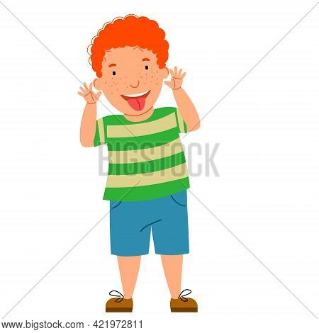 The Red-haired Kid Made A Face And Showed His Tongue