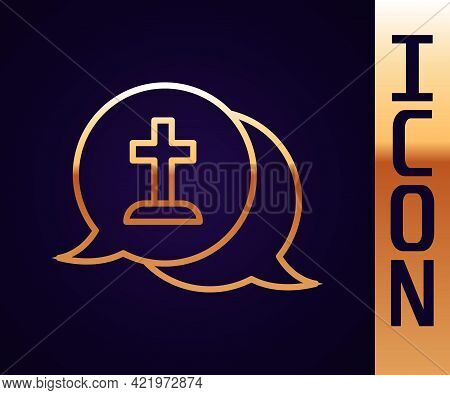 Gold Line Man Graves Funeral Sorrow Icon Isolated On Black Background. The Emotion Of Grief, Sadness