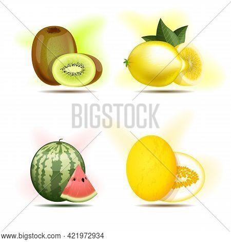 Set Of Berries And Fruits, Kiwi, Lemon, Watermelon And Melon.