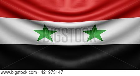 Hanging Wavy National Flag Of Syria With Texture. 3d Rendering.