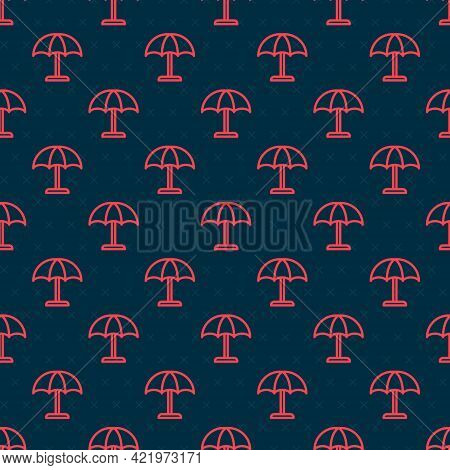 Red Line Sun Protective Umbrella For Beach Icon Isolated Seamless Pattern On Black Background. Large