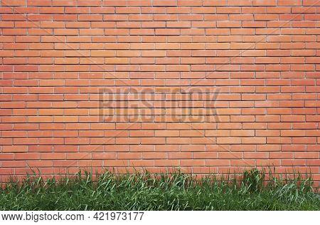 Stained Brick Wall Background. Brickwork Flooring Interior Rock Old Pattern Clean Concrete Grid Unev