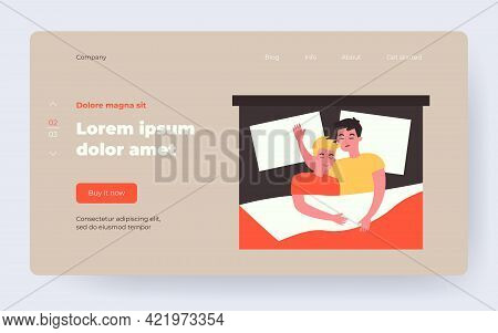 Male Gay Couple Sleeping In Bedroom. Guys Hugging While Resting In Bed. Flat Vector Illustration. Ho