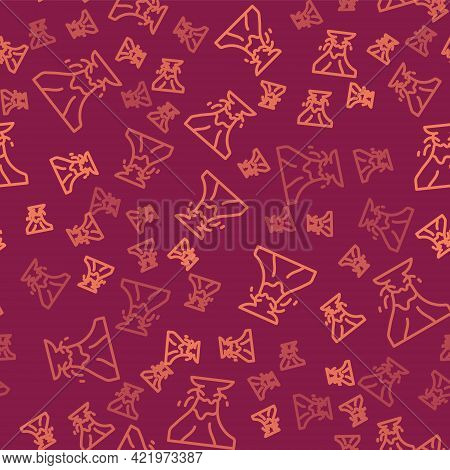 Brown Line Volcano Eruption With Lava Icon Isolated Seamless Pattern On Red Background. Vector
