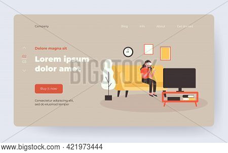 Girl In Vr Glasses Playing Game On Tv. Happy Woman In Vr Headset With Controllers Flat Vector Illust