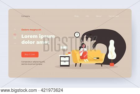 Scared Woman Sitting On Sofa Alone At Night. Ghost, Monster, Fear Flat Vector Illustration. Nightmar
