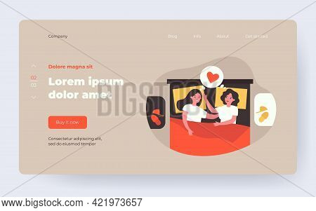 Female Gay Couple Hugging While Resting In Bed. Lesbian, Love, Bedroom. Flat Vector Illustration. Ho