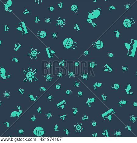 Set Jellyfish, Rabbit, Turtle And Shark Fin In Ocean Wave On Seamless Pattern. Vector