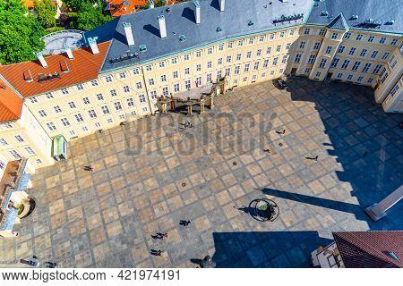 Aerial View Of Third Courtyard Of Prague Castle, Czech: Prazsky Hrad. Hradcany, Czech Republic