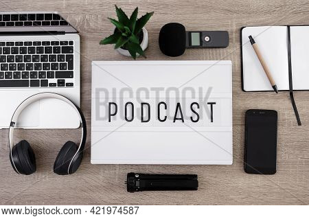 Podcast And Blogging Concept - Flat Lay Background With Audio Recording Equipment, Lightbox With Pod