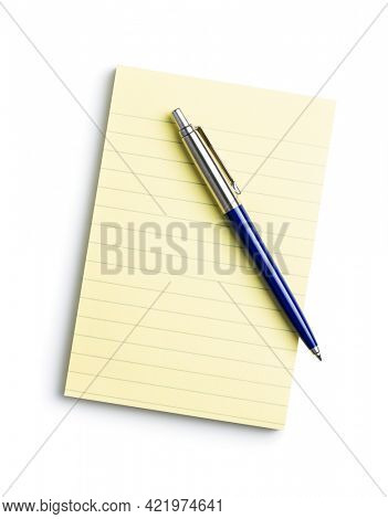 Blank sticky paper notepad and penisolated on white background.