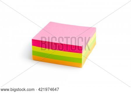 Blank sticky paper notepad isolated on white background.
