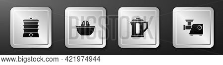Set Slow Cooker, Citrus Fruit Juicer, Electric Kettle And Kitchen Meat Grinder Icon. Silver Square B