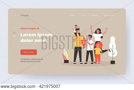 Young Family Being Happy About Sport Achievement Award. Flat Vector Illustration. Cartoon Parents An