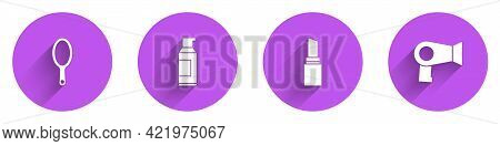 Set Hand Mirror, Spray Can For Hairspray, Lipstick And Hair Dryer Icon With Long Shadow. Vector