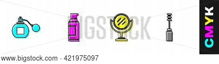 Set Perfume, Spray Can For Hairspray, Round Makeup Mirror And Mascara Brush Icon. Vector
