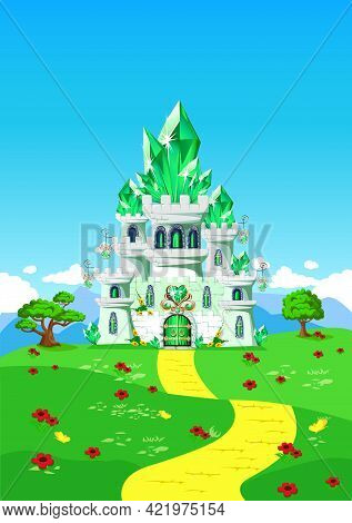 Emerald City And Yellow Brick Road On A Fairy Tale Background. Vector Vertical Illustration Of An Em