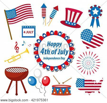 4th July Independence Day America Celebration In Usa, Icons Set, Design Element, Flat Style.vector I