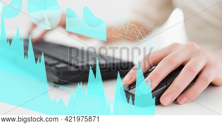 Composition of digital data processing over woman using mouse and keyboard. global business and digital interface concept digitally generated image.